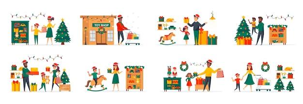 Speelgoedwinkel in de kersttijd bundel scènes