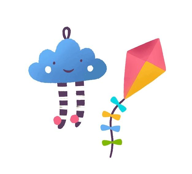 Speelgoedwolk en vlieger platte vectorillustratie. kleurrijk kinderachtig speelgoed. kenmerken van kinderspelletjes. lachende wolk, veelkleurige babybal. vliegend papier speelgoed geïsoleerd op een witte achtergrond.
