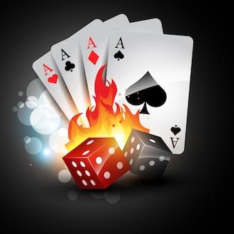 Speelkaart en dobbelstenen