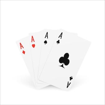 Speelkaart four of a kind of quads. ace ontwerp cazino spelelement. poker of blackjack realistische kaarten. vector illustratie