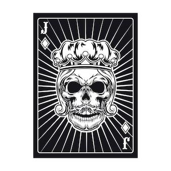 Speelkaart met jack-schedel. diamant
