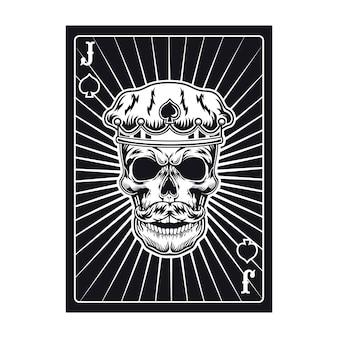 Speelkaart met jackschedel in kroon. schoppen, koninklijke hoed