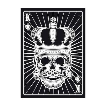 Speelkaart met schedel. zwarte koning