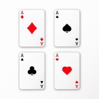 Speelkaarten aas set vector casino kaart 3d met schaduwen