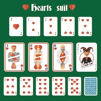 Speelkaarten harten rood pak set joker en terug geïsoleerde vectorillustratie