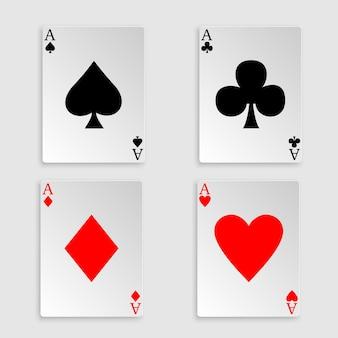 Speelkaarten over wit. vier azen pokerhand.