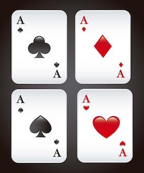 Speelkaarten over zwarte vectorillustratie als achtergrond