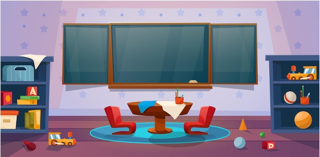 Speelkamer. kleuterschool. klasse met tafel en schoolbord. interieur met spelletjes, speelgoed.