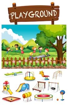 Speelplaatsscène met kinderen en speelgoed