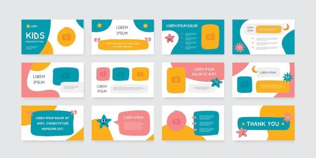 Speels thema presentatie dia's ontwerpsjabloon voor kinderen