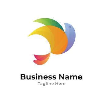 Speelse vogel logo vector sjabloon