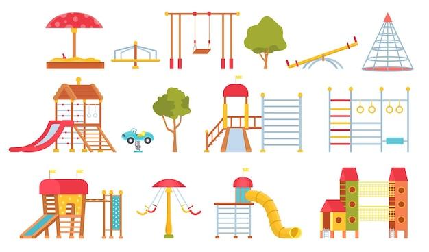 Speeltoestellen. kinderparkeercarrousels, schommels en spelmodules met glijbanen. klimwand en zandbak. platte buitenspeeltuin vector set. illustratie speeltoestellen spel buiten