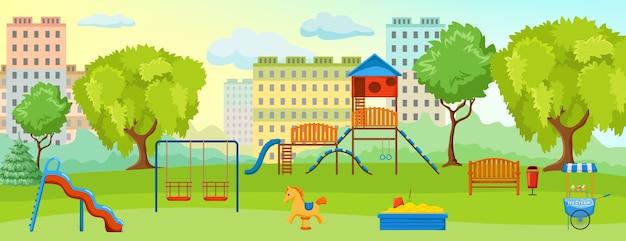 Speeltuin bij de samenstelling van het park met lege speeltuin met schommelspeelgoed en groene ruimtes