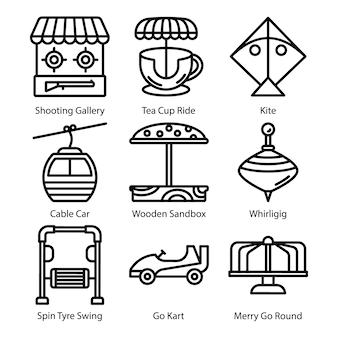 Speeltuin lijn icons set