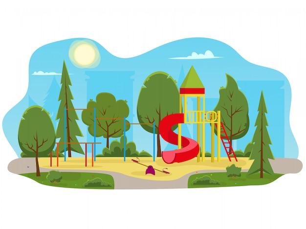 Speeltuin met glijbanen en buis in het park.