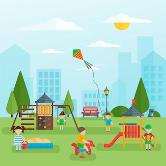 Speeltuin met kinderen plat ontwerp