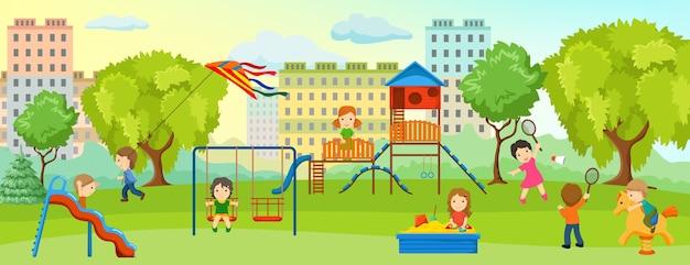 Speeltuin met kindersamenstelling met kinderen en volwassenen ontspannen in het park op speelplaats