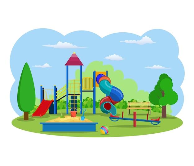 Speeltuin voor kinderen. gebouwen voor stadsbouw.