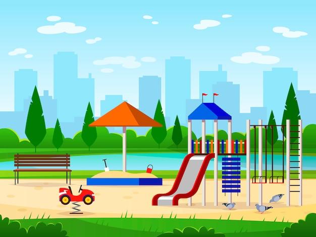 Speeltuin voor kinderen. stadspark speeltuin vrije tijd buitenactiviteiten cityscape landschapstuin leuke illustratie