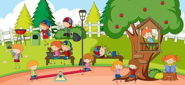Speeltuinscène met veel kinderen doodle stripfiguur