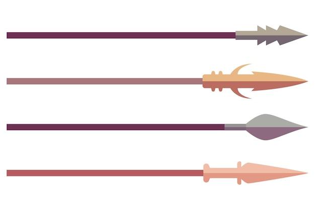 Speer vector tekenfilm set geïsoleerd op een witte achtergrond.