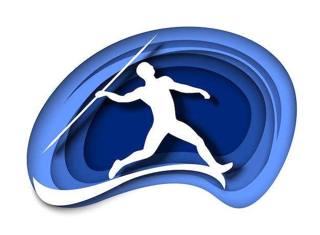 Speerwerpen atleet gooien speer witte silhouet vectorillustratie in papier kunststijl atleet...