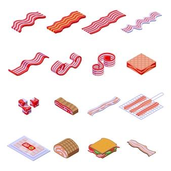 Spek pictogrammen instellen. isometrische reeks baconpictogrammen voor web dat op witte achtergrond wordt geïsoleerd