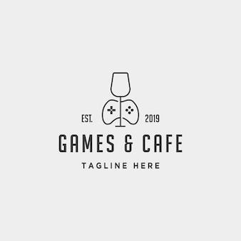 Spel café logo ontwerp concept vector illustratie pictogram element - vector