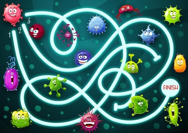 Spel doolhof met lachende microben stripfiguren. kinderlabyrint met schattige bacteriën, virussen of edelstenen