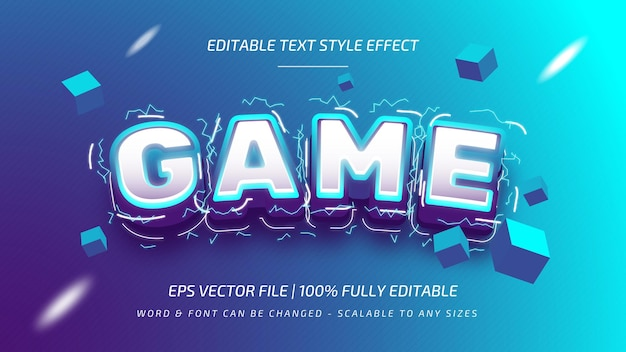 Spel glanzend bewerkbaar 3d-vector tekststijleffect. bewerkbare illustrator tekststijl.