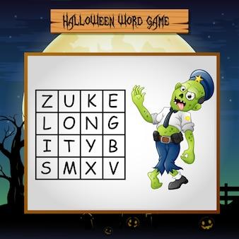 Spel halloween vind het woord van zombie