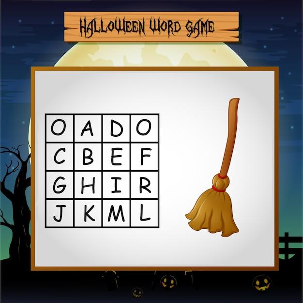Spel halloween vindt het woord van bezem