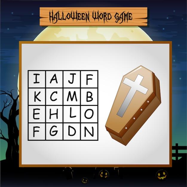 Spel halloween vindt het woord van de doodskist