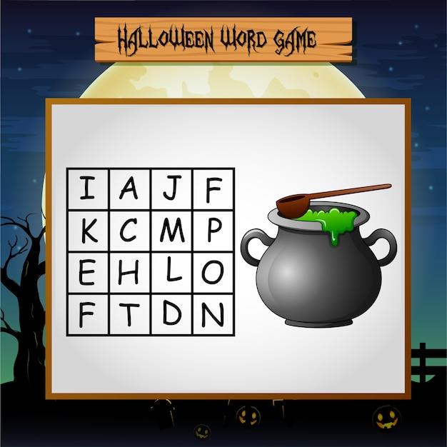 Spel halloween vindt het woord van de pot