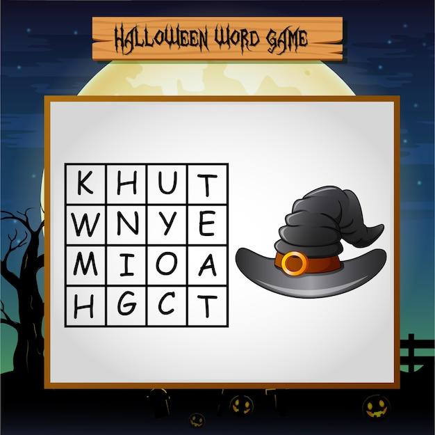 Spel halloween vindt het woord van heksenhoed