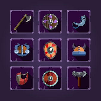 Spel iconen. viking embleem.