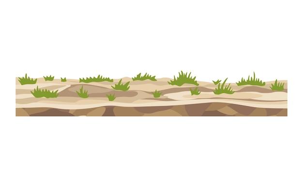 Spel landschap. cartoon ontwerp natuur. landschap van bodemsectie. illustratie van dwarsdoorsnede gemalen plak geïsoleerd op een witte background