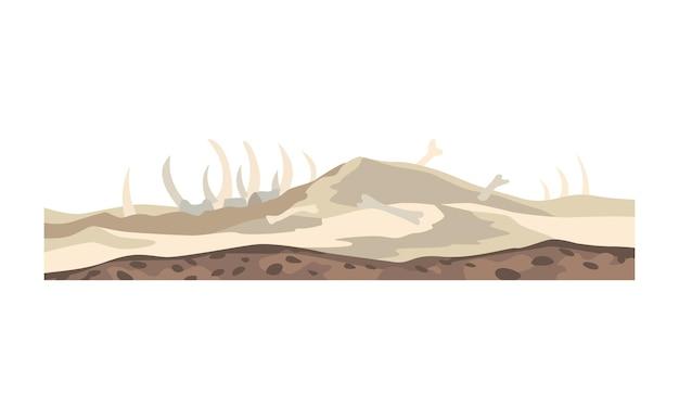 Spel landschap. cartoon ontwerp natuur. landschap woestijn vallei van de dood met botten. illustratie van dwarsdoorsnede gemalen plak geïsoleerd op een witte background