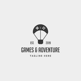 Spel logo ontwerp controller ballon de reis vector illustratie pictogram element - vector
