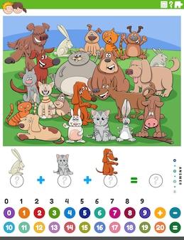 Spel met tekenfilm dieren tellen en toevoegen