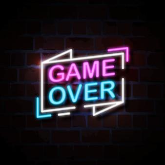 Spel over neon stijl teken illustratie