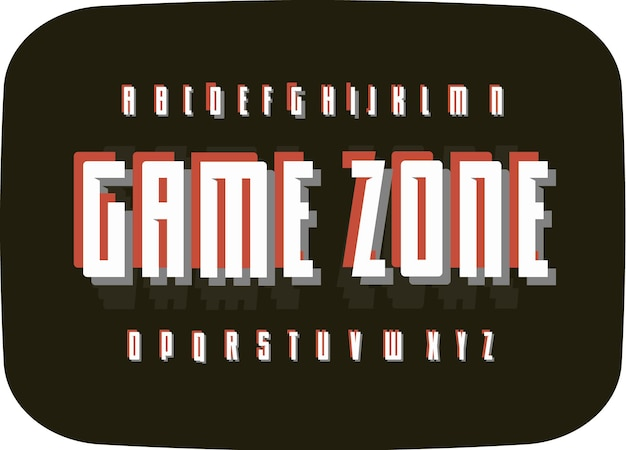 Spel retro alfabet op zwarte oude tv scherm achtergrond typografie vintage pixel lettertype sjabloon digitaal
