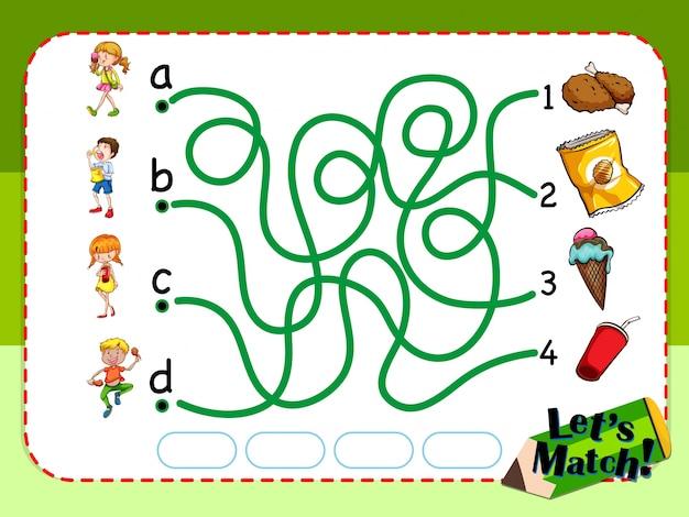 Spel sjabloon met bijpassende kinderen en snacks illustratie