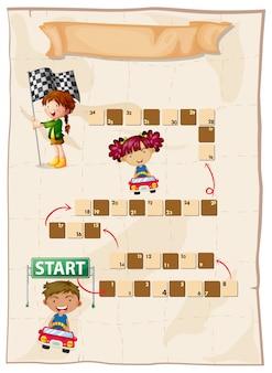 Spel sjabloon met kinderen in racewagen