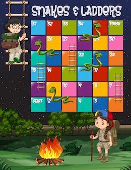 Spel sjabloon met kinderen kamperen achtergrond