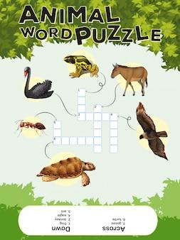Spel sjabloon voor dieren woord puzzel