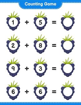 Spel tellen, het aantal bramen tellen en het resultaat noteren. educatief kinderspel, afdrukbaar werkblad