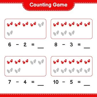 Spel tellen, het aantal wanten tellen en het resultaat noteren
