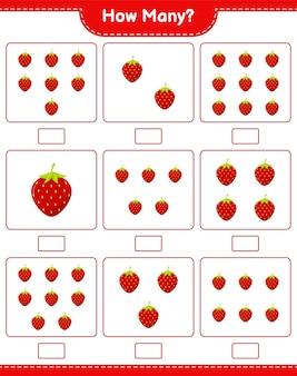 Spel tellen, hoeveel aardbeien. educatief kinderspel, afdrukbaar werkblad
