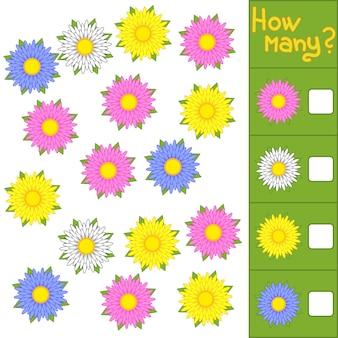 Spel tellen. hoeveel bloemen.